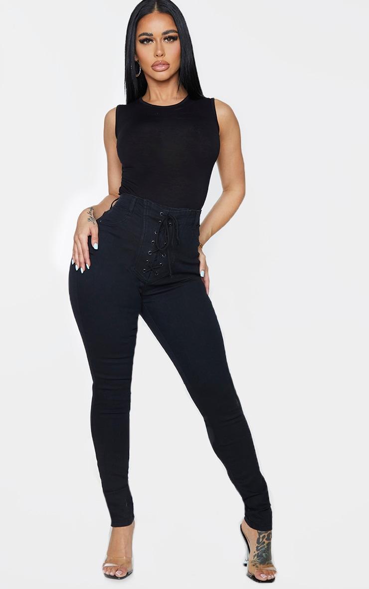 Shape - Jean skinny noir à laçage frontal 1