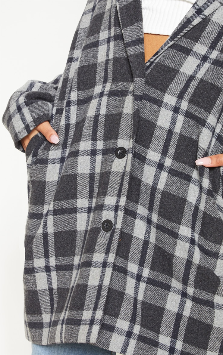 Charcoal Checked Oversized Coat 5