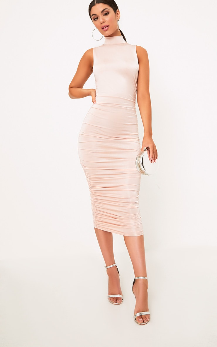 Nude Sleeveless Ruched Detail Midi Dress 4
