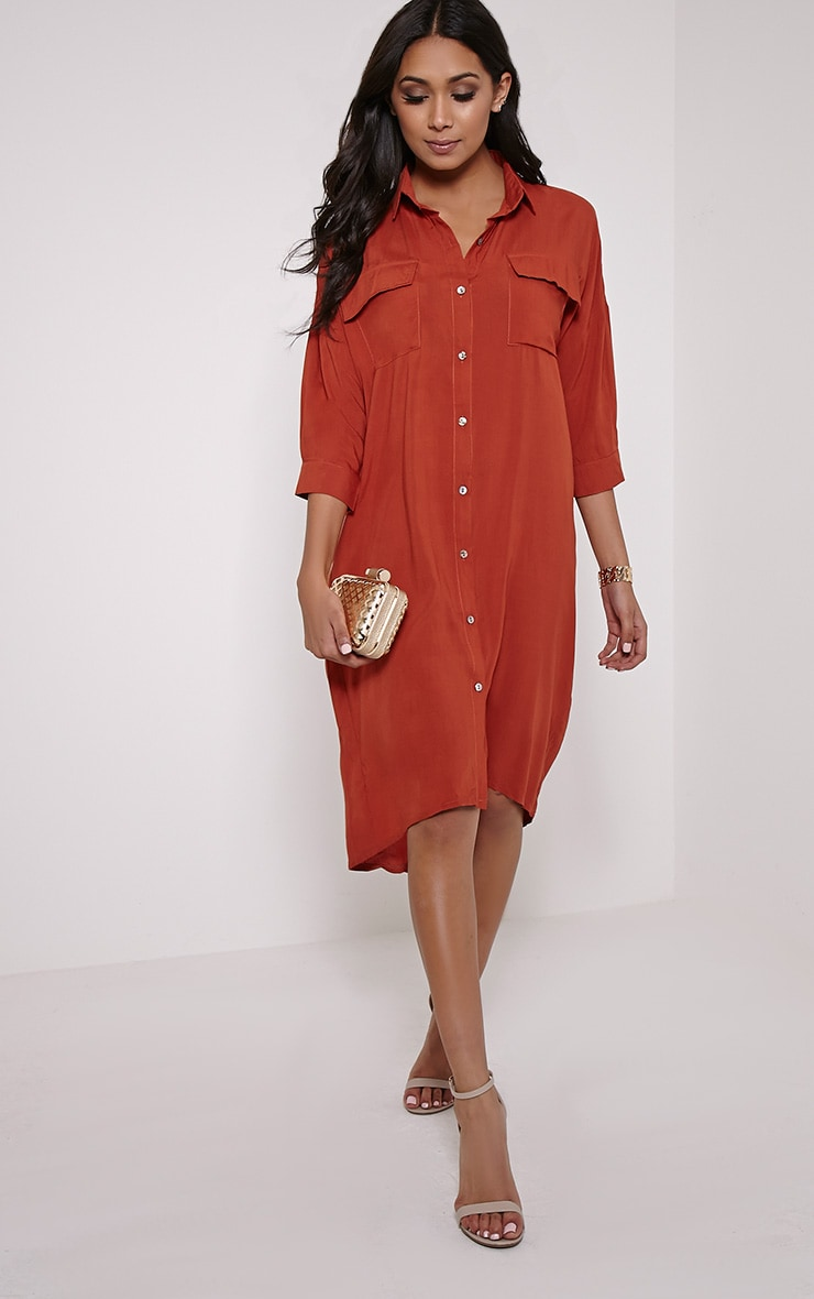 Perrin Rust Longline Shirt Dress 4