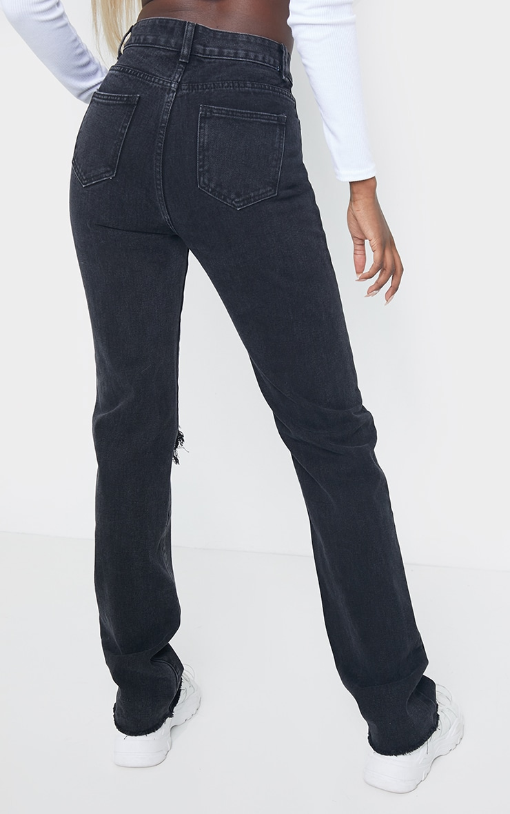 PRETTYLITTLETHING Tall Washed Black Distressed Long Leg Straight Jeans 3