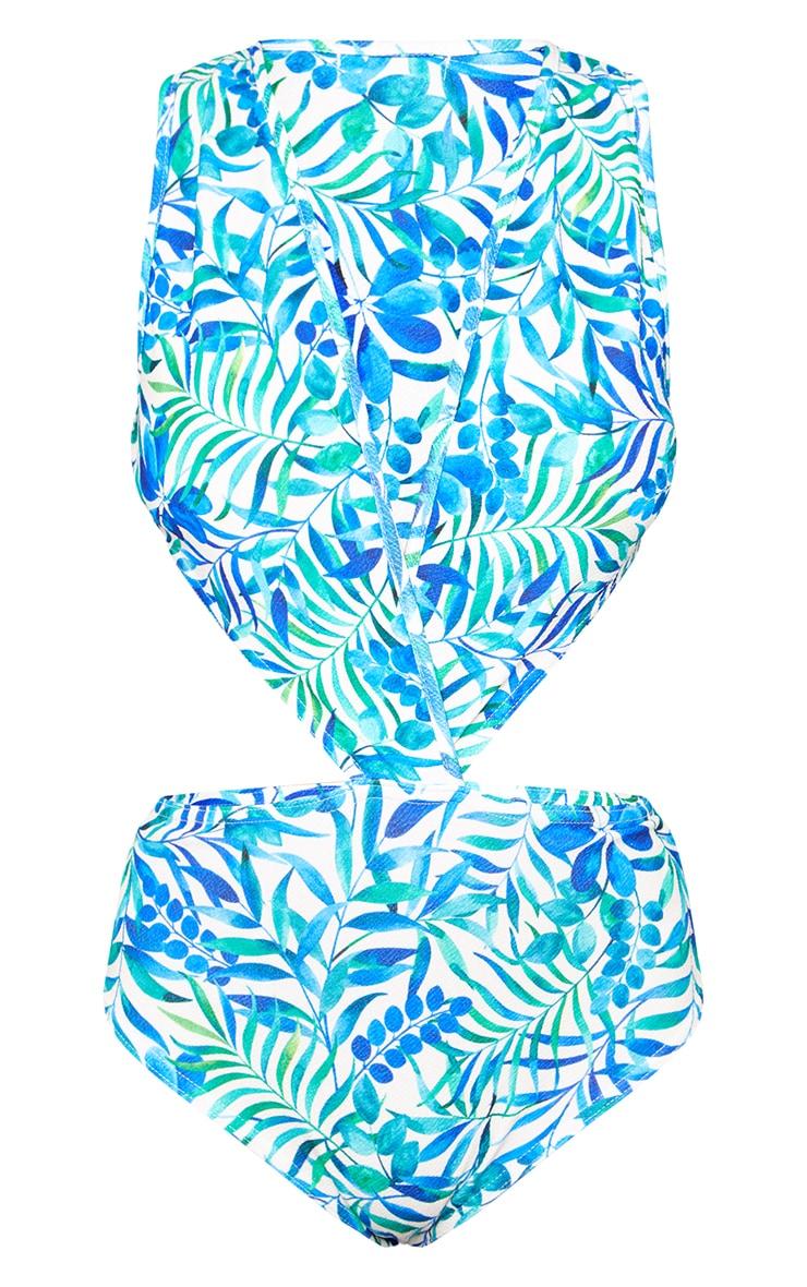 Blue Tropical Print Cut Out Side Thong Bodysuit 3