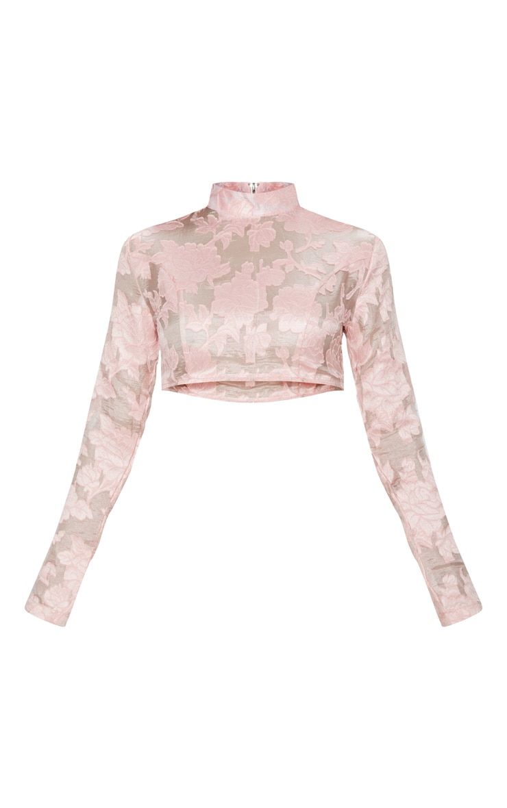 Rose Embroidered Mesh High Neck Crop Top 3