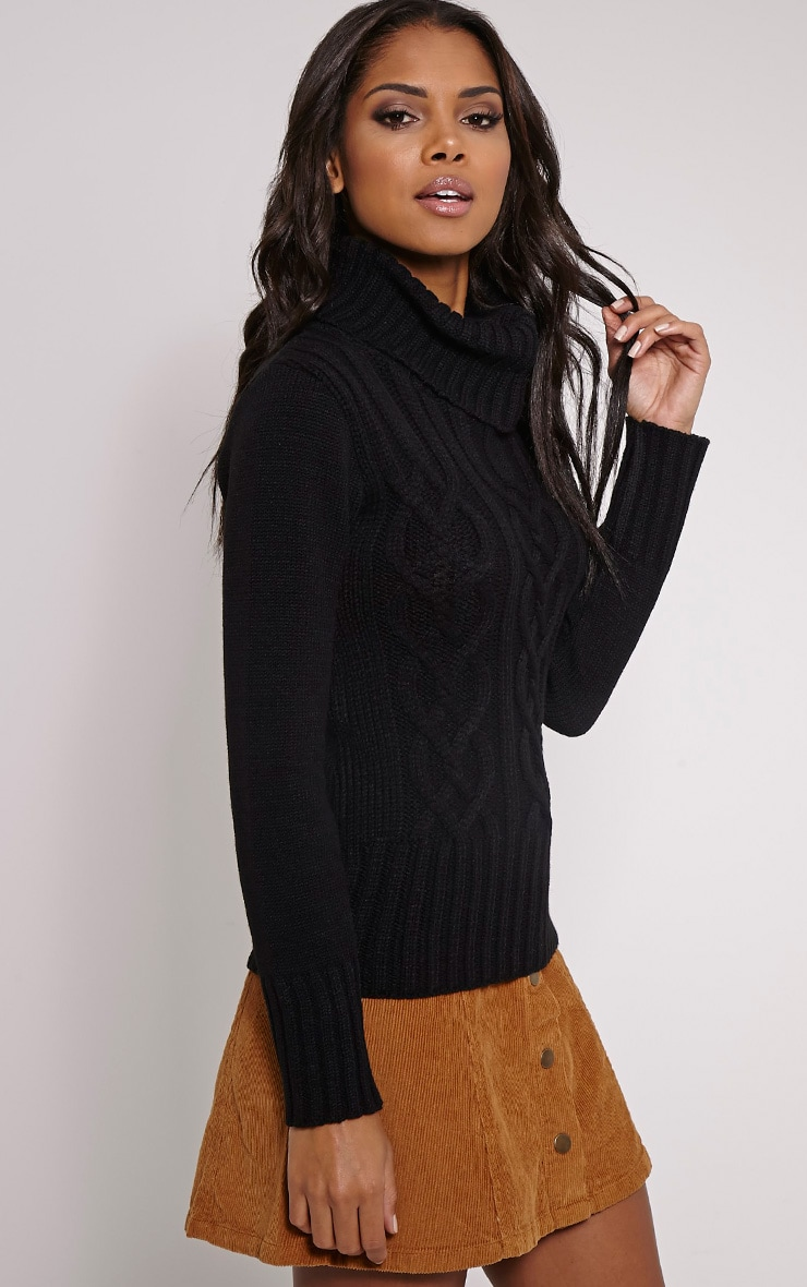 Yonda Black Roll Neck Knitted Jumper 4