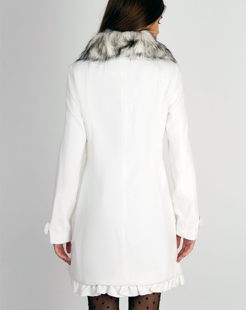 Georgie White Heart Buttoned Fur Collar Duffle Coat 2