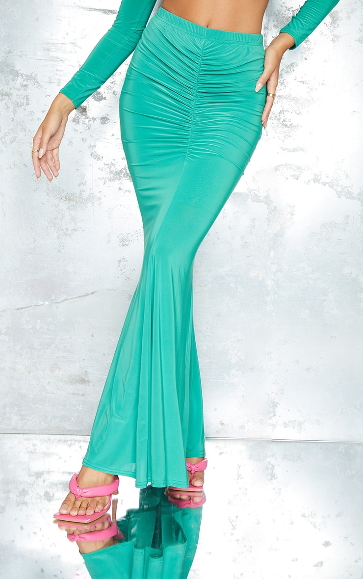 Bright Green Slinky Ruched FrontMaxi Skirt 2