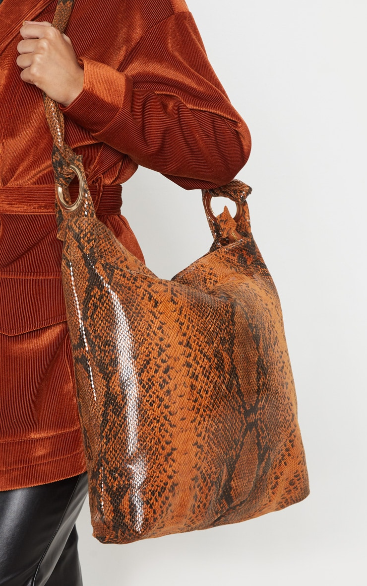 Brown Snake Relaxed Shoulder Bag 1