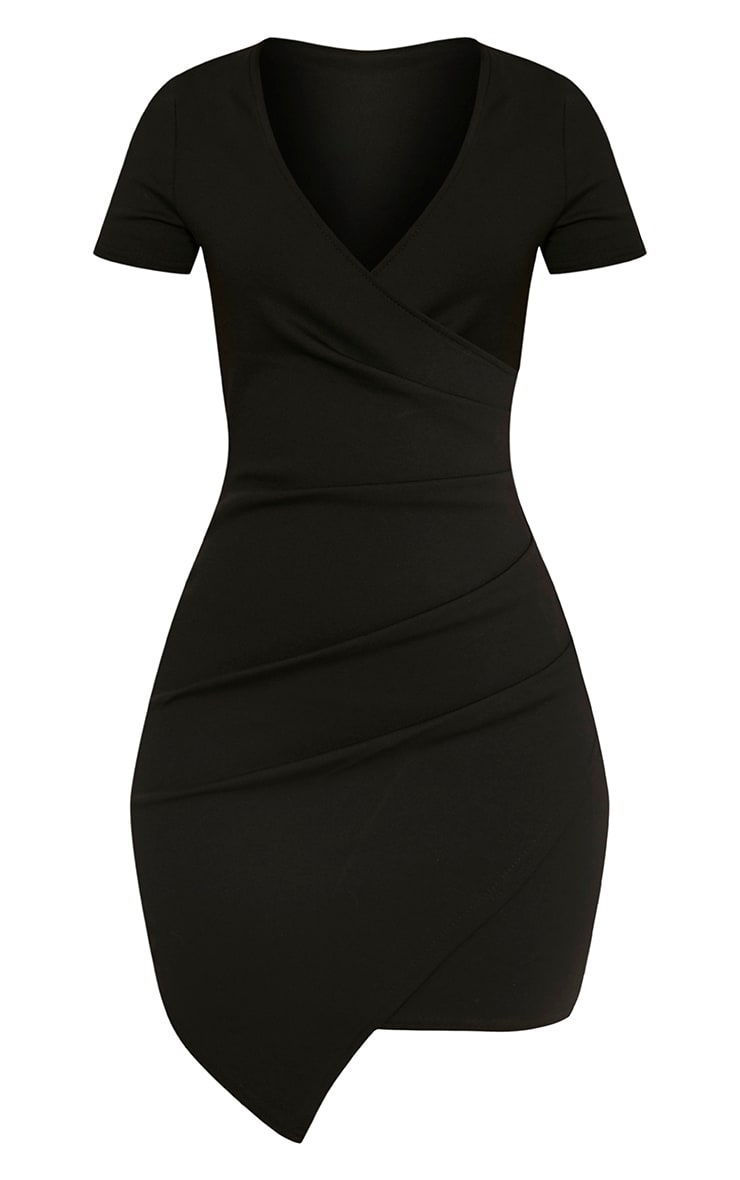 Amarnie Black Capped Sleeve Bodycon Dress 3