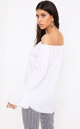 d578642106031 Yadira White Bardot Flute Sleeve Shirt image 2