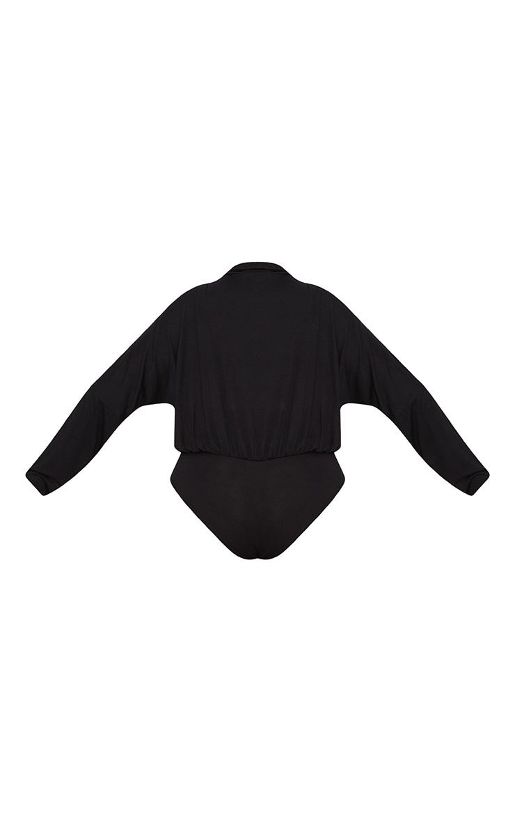 Plus Black Jersey Blazer Detail Thong Bodysuit 4
