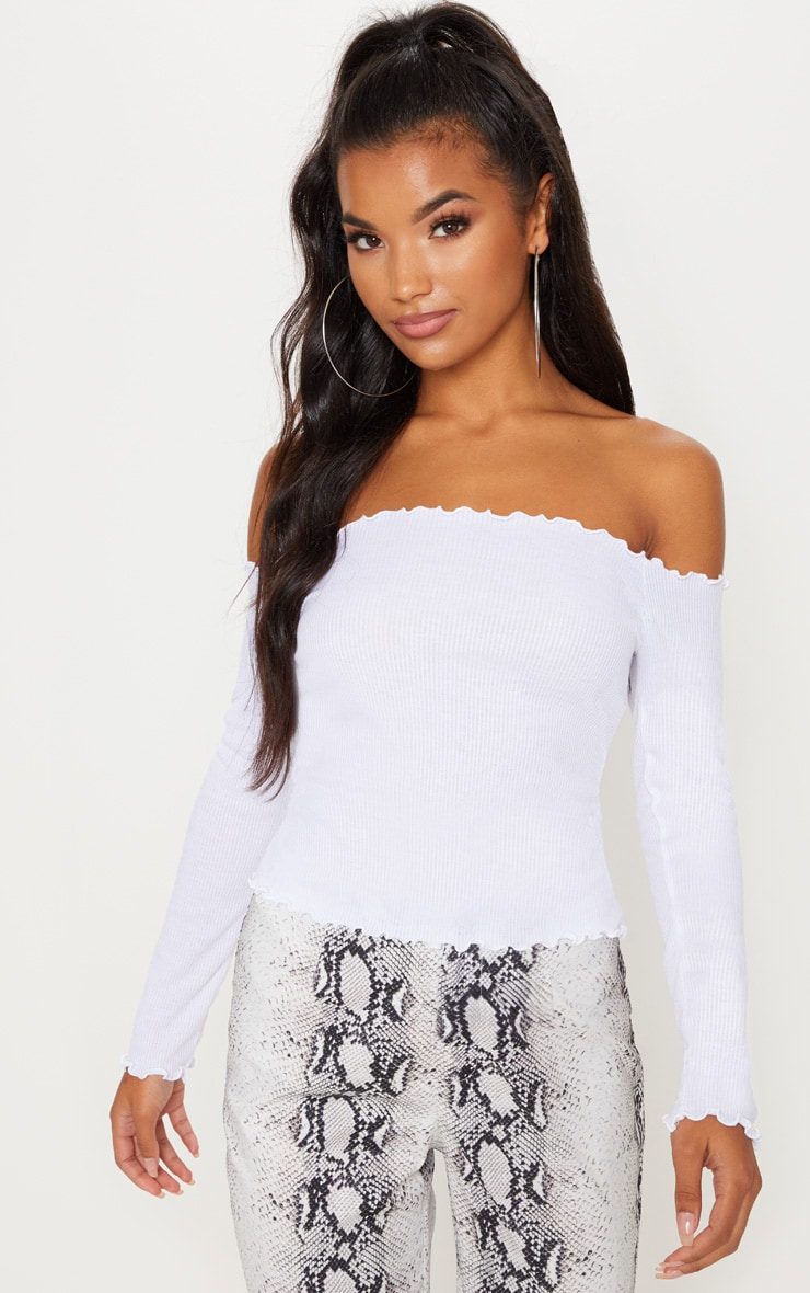 White Rib Long Sleeve Bardot Top