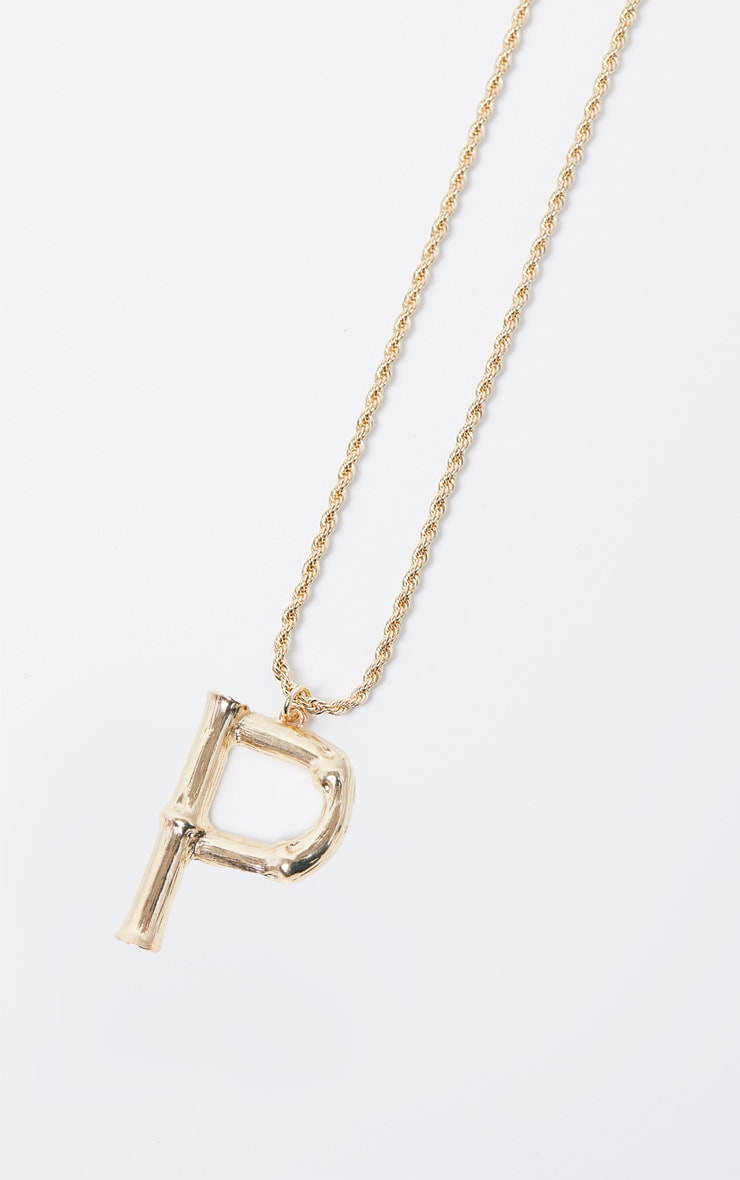 Gold P Bamboo Letter Necklace 3
