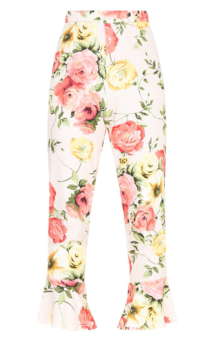 Stone Floral Print Flare Hem Trousers 3