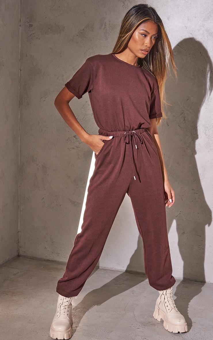 RENEW Chocolate Short Sleeve Sweat Jumpsuit 1