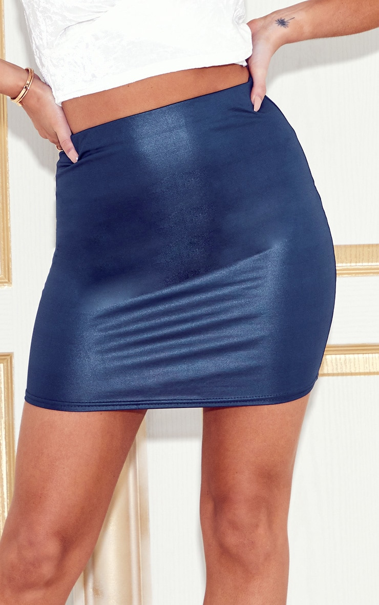 Navy Wet Look Mini Skirt 6