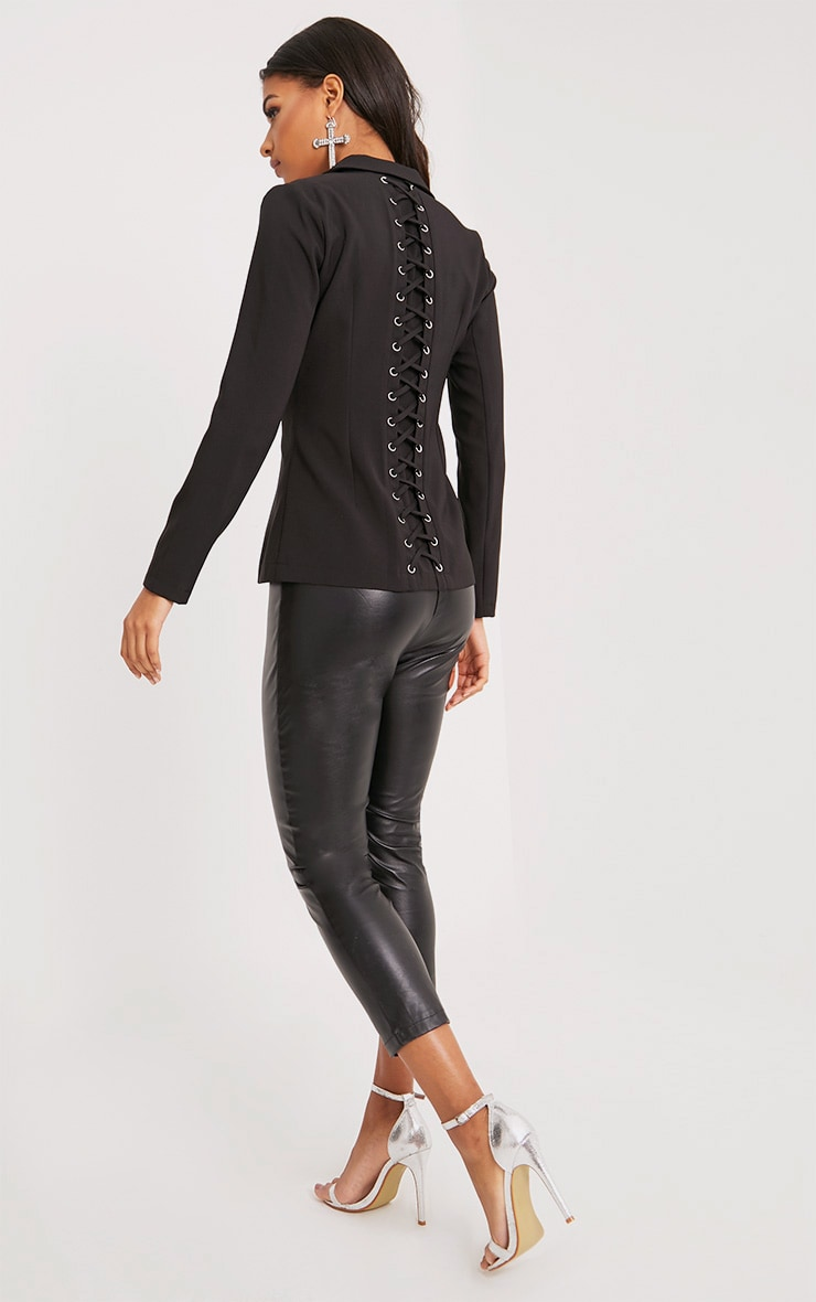 Abigale Black Laced Up Detail Blazer 6