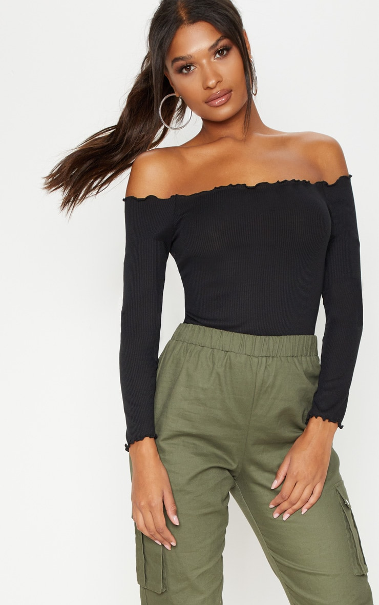 Black Rib Long Sleeve Bardot Top