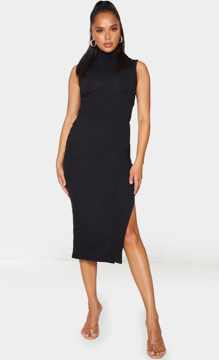 Black Thick Rib Split Side Midaxi Skirt 1