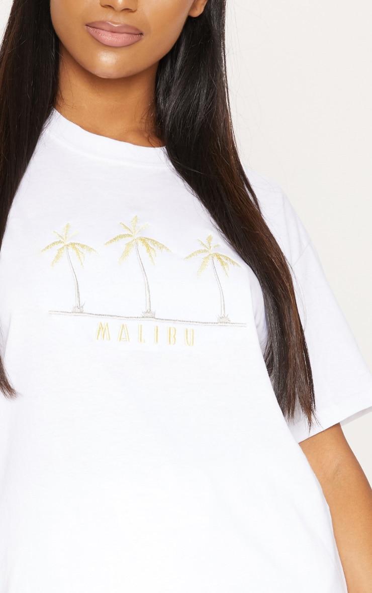 White Malibu Embroidered Oversized T shirt 5