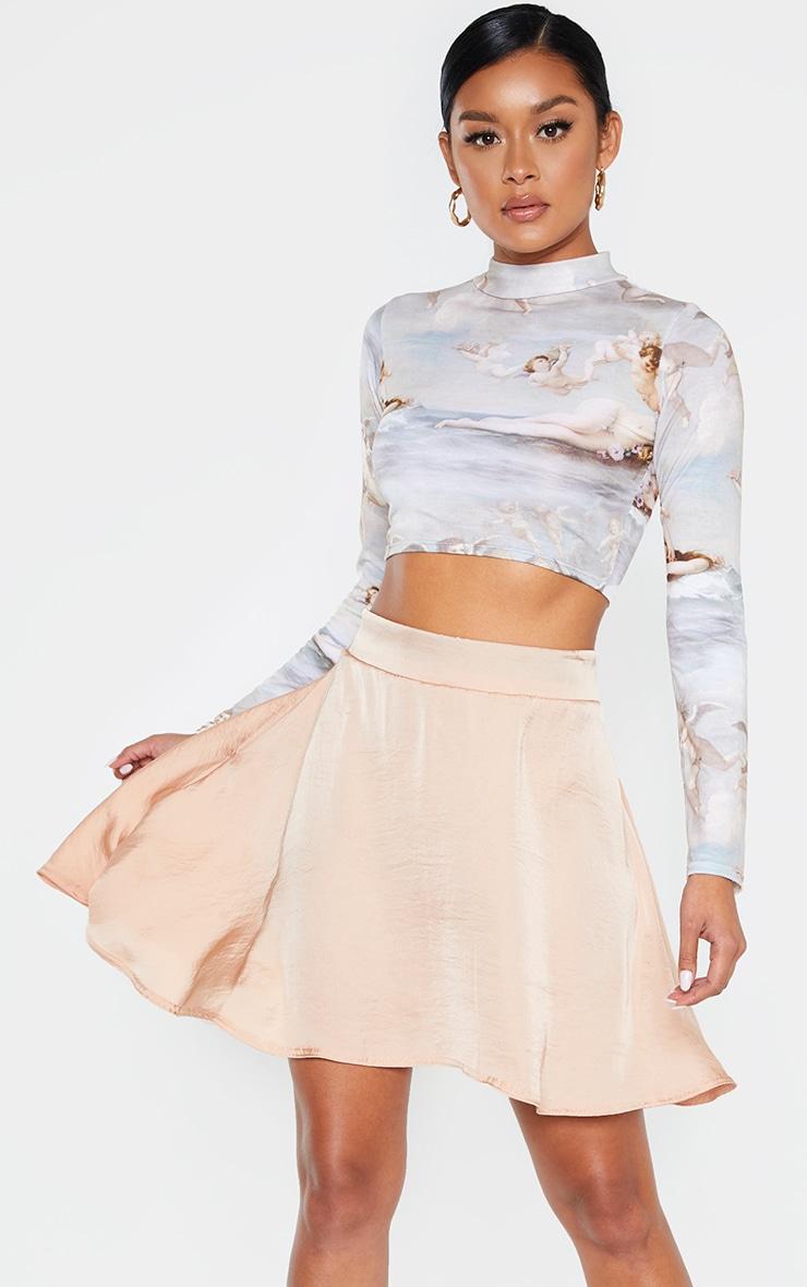 Champagne Woven Tie Waist Skater Skirt 1