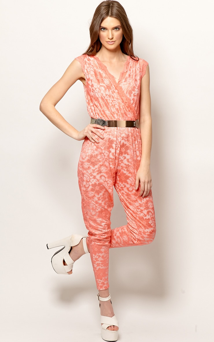 Angelica Coral Lace Jumpsuit 3