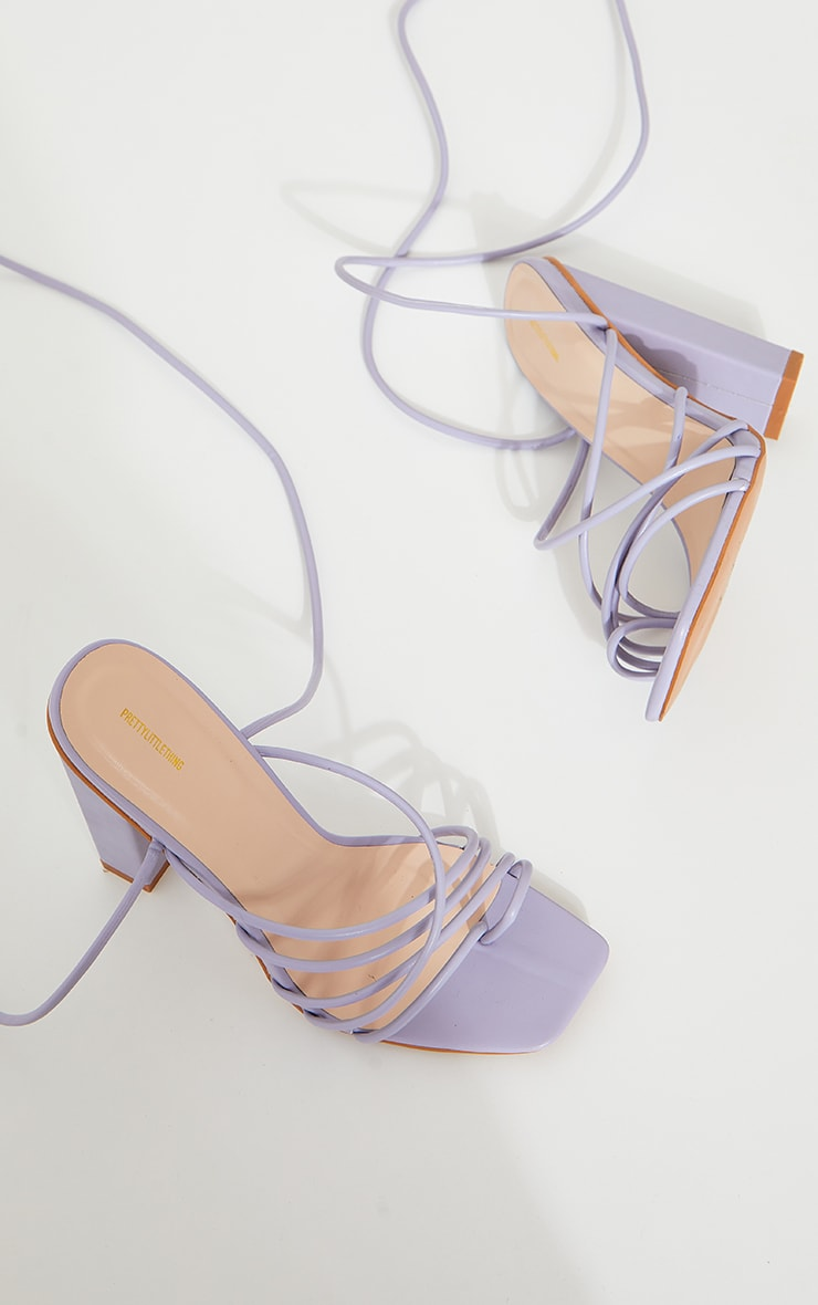 Lilac Strappy Toe Loop Lace Up High Block Heels 4