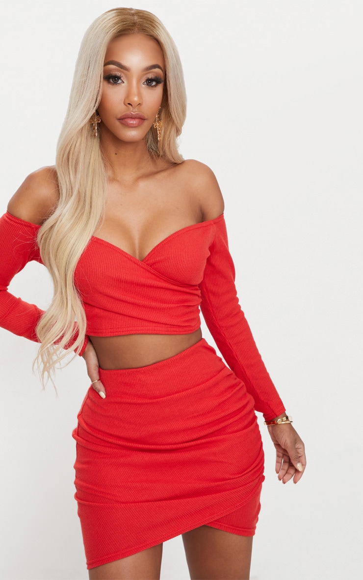 Shape Red Ribbed Bodycon Skirt 1