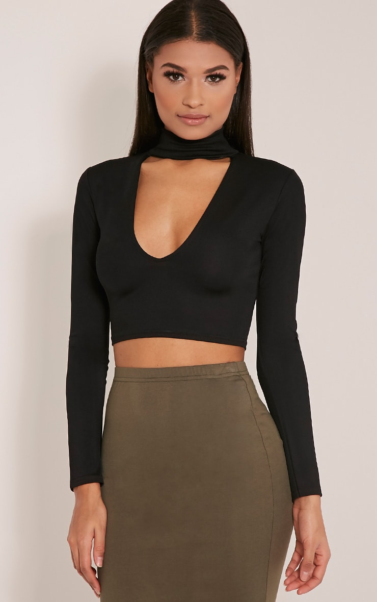 Jenifer Black Cut Out Neck Crop 1
