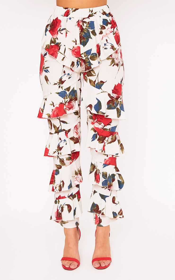 Cream Tiered Frill Floral Trousers 2