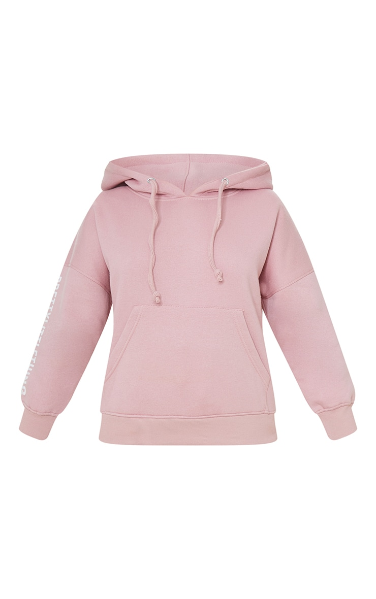 PRETTYLITTLETHING Petite Pale Pink Graphic Hoodie 5