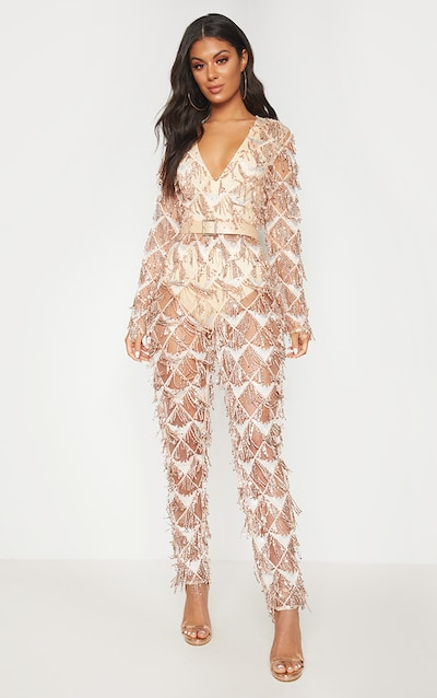 100% satisfaction guarantee pretty and colorful beautiful in colour Rose Gold Tassel Sequin Plunge Jumpsuit