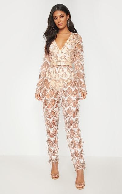 54a5d278da Rose Gold Tassel Sequin Plunge Jumpsuit