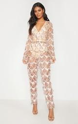 Rose Gold Tassel Sequin Plunge Jumpsuit 1