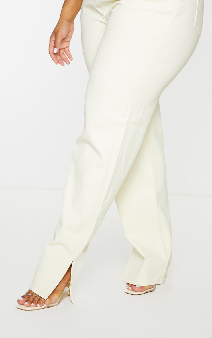 Plus Ecru Split Hem Jeans 4