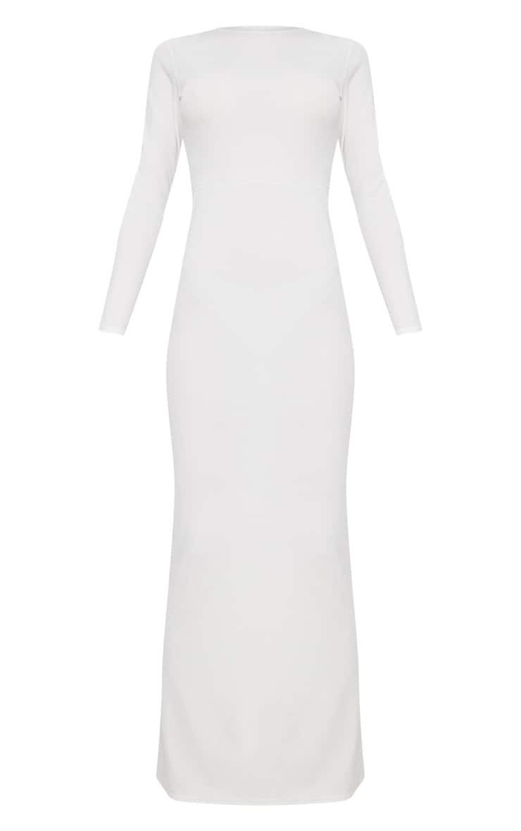 White Backless Strap Detail Long Sleeve Maxi Dress 2