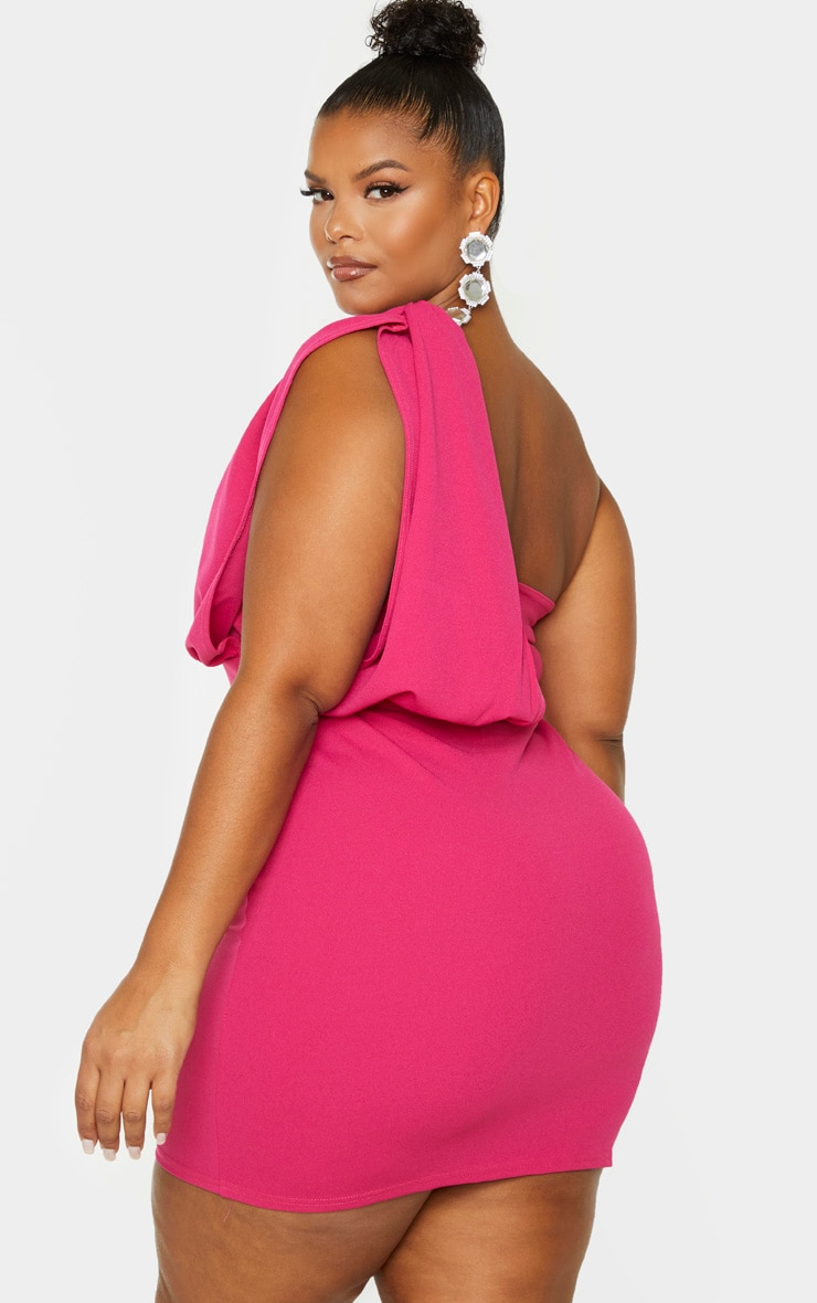 Plus Fuchsia One Shoulder Draped Bodycon Dress 2