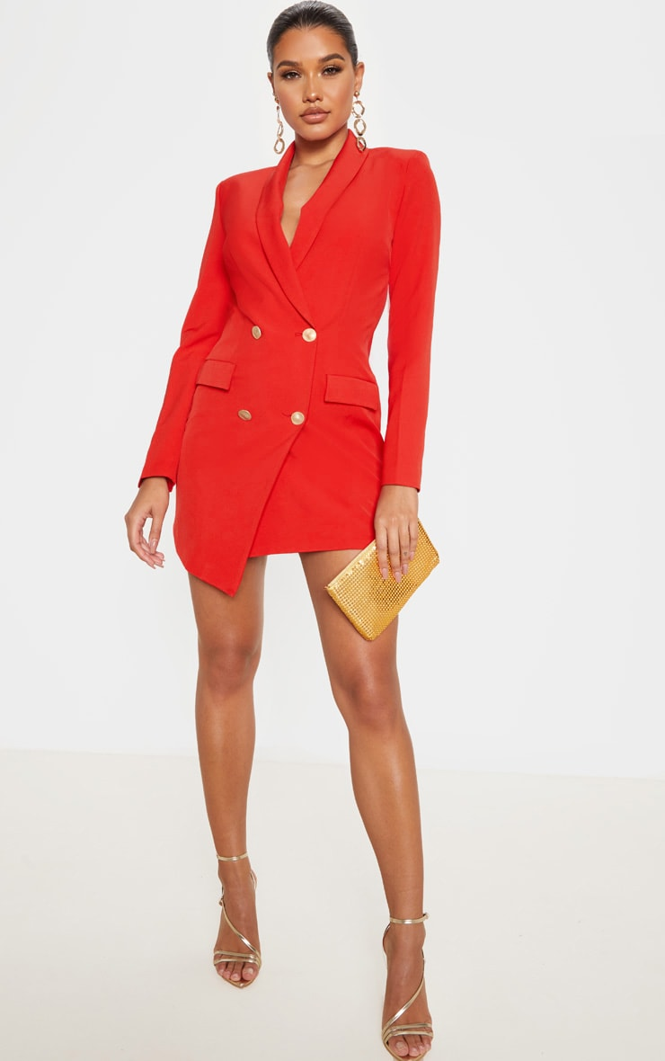 Red Gold Button Blazer Dress 4