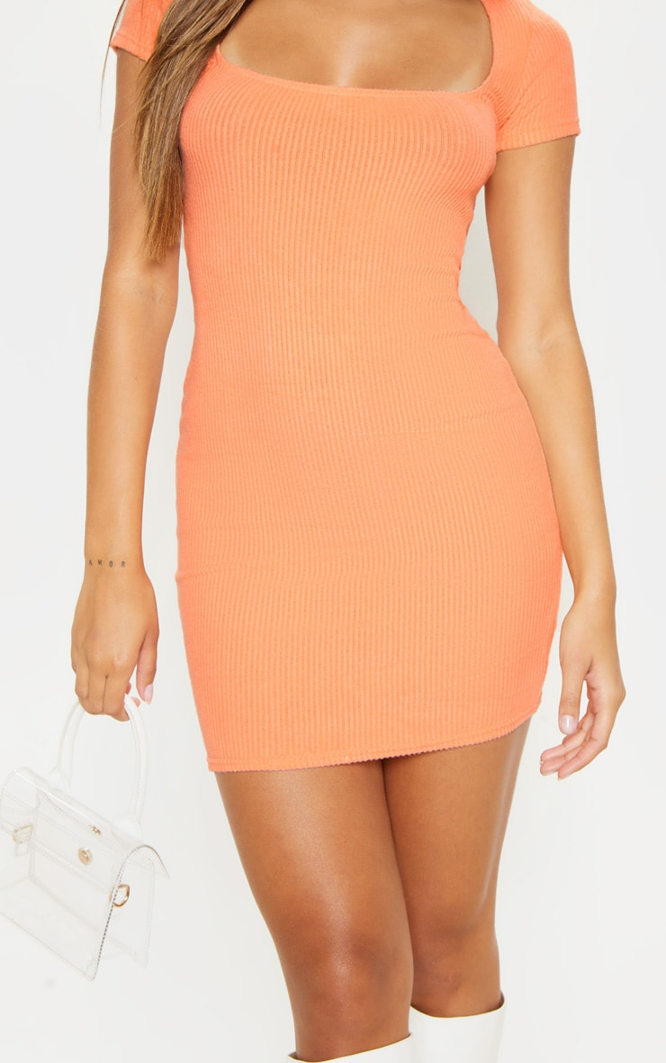 Peach Square Neck Brushed Rib Bodycon Dress 5