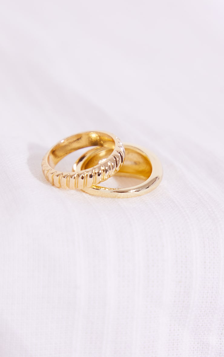 Gold Rounded 2 Pack Rings 2