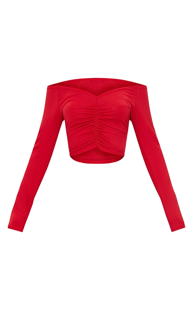Red Slinky Ruched Front Long Sleeve Crop Top 3
