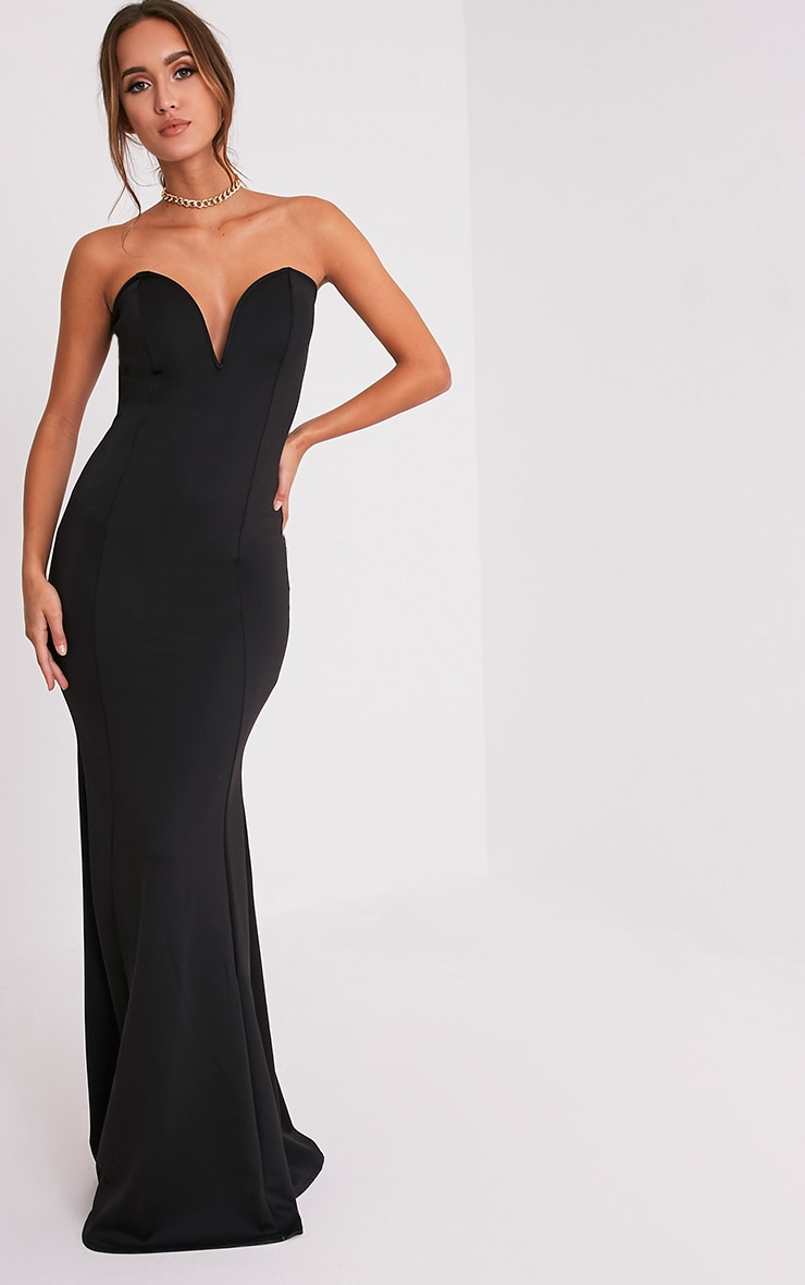 Wendie Black Sweetheart Fishtail Maxi Dress 5