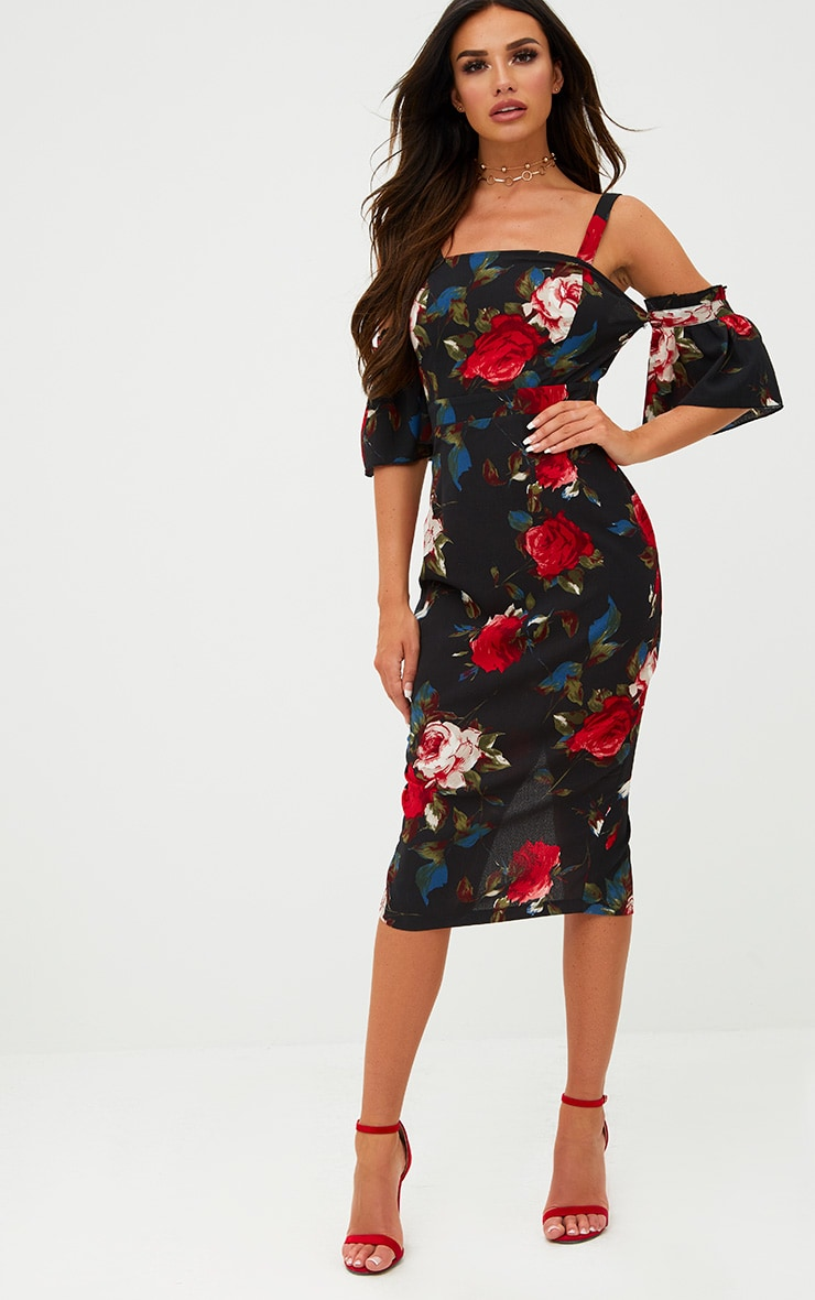 Black Floral Cold Shoulder Midi Dress 1