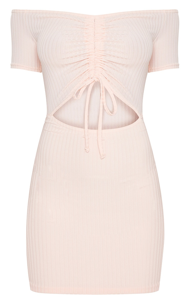 Dusty Pink Ruched Front Bardot Bodycon Dress 3