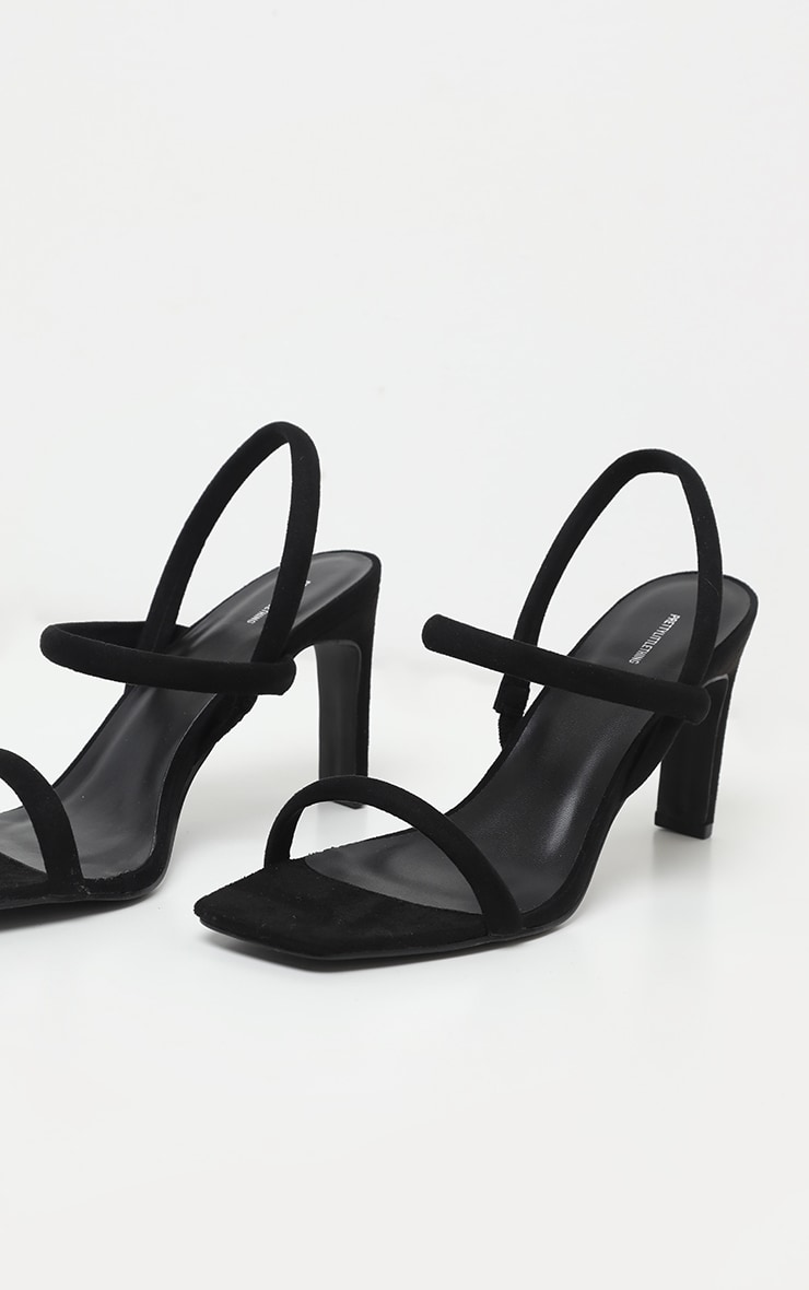 Black Tube Strappy Square Toe Sandal 4