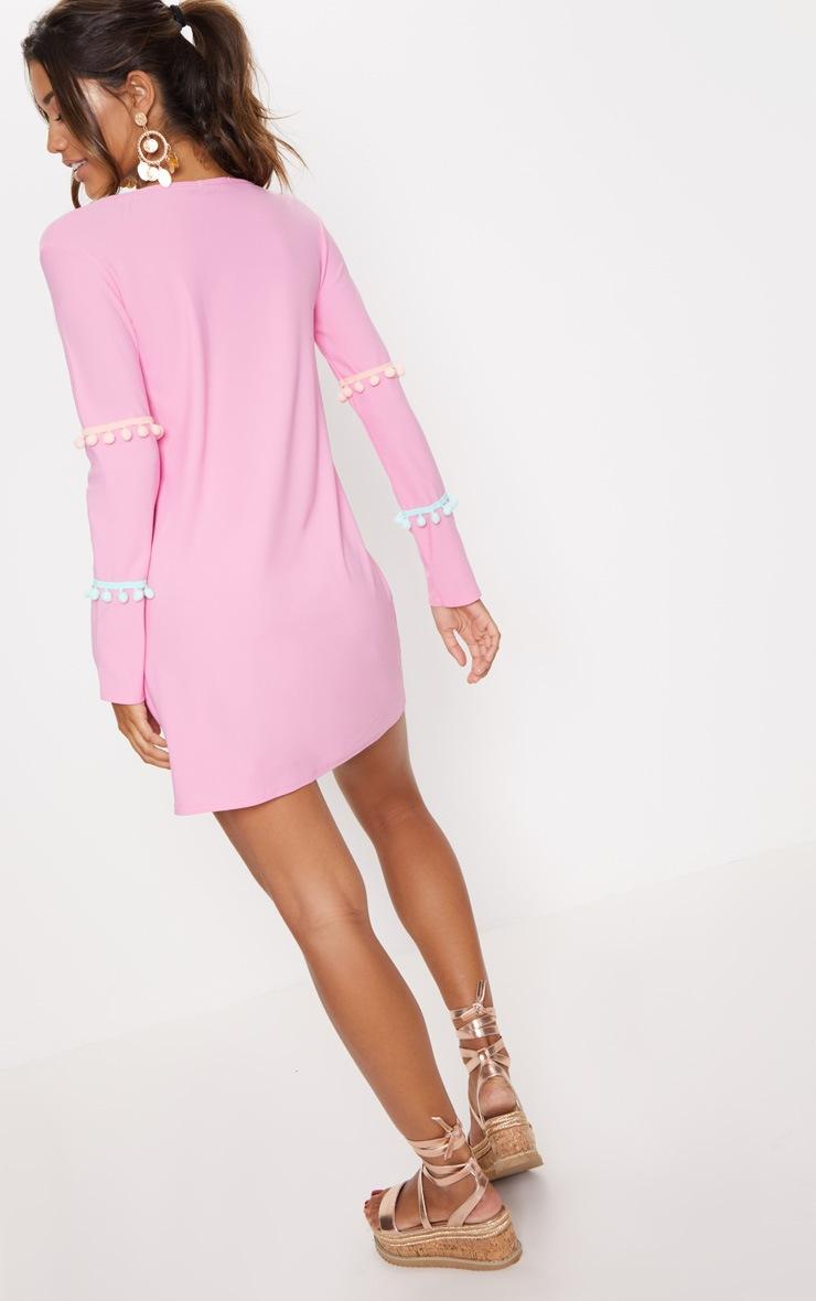 Pink Pom Pom Bell Trim Shift Dress 2
