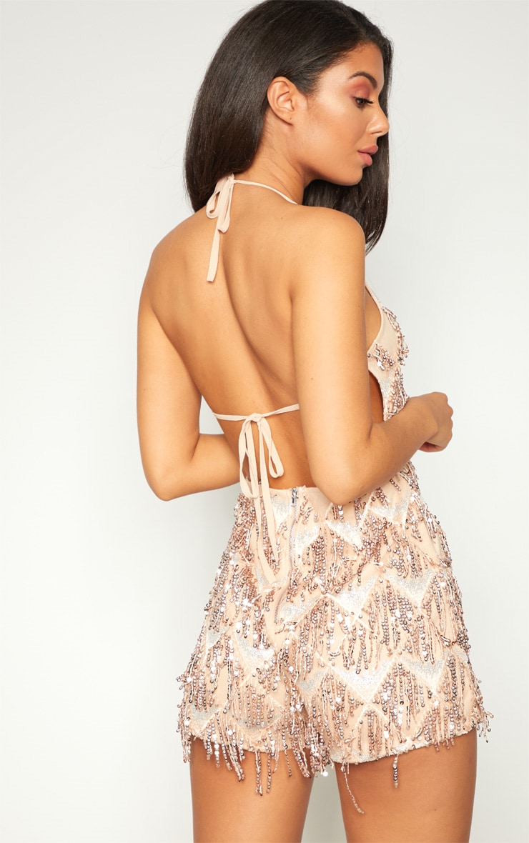 Rose Gold Tassel Sequin Playsuit 2