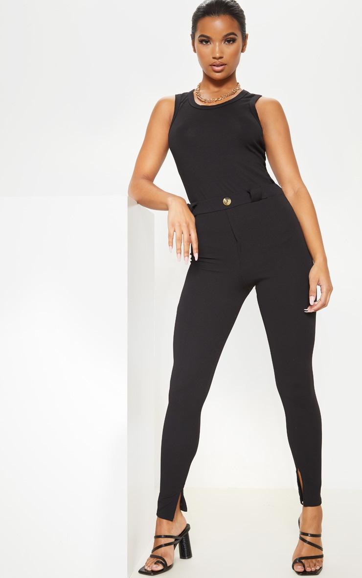 Black Crepe Split Hem Skinny Trouser 1