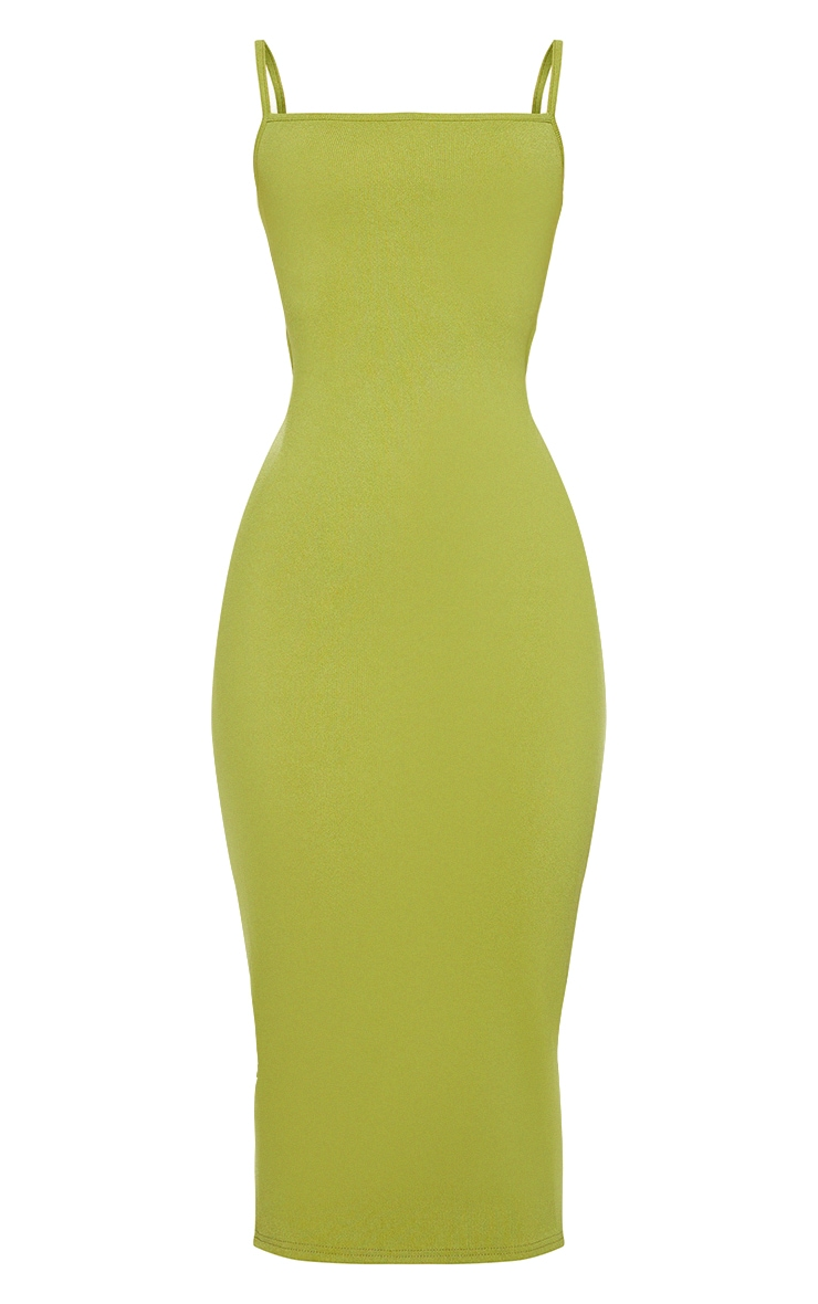 Olive Ribbed Double Tie Open Back Midi Dress 5
