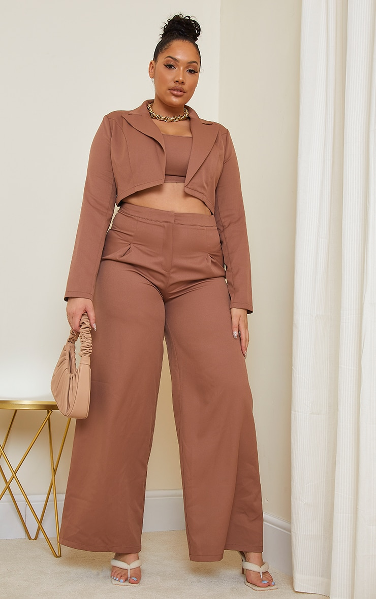 Plus Chocolate Brown Woven Pleat Detail Wide Leg Trousers 1