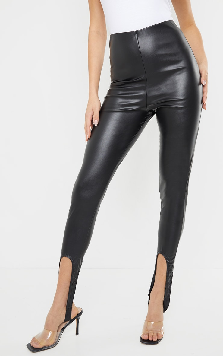 Black Faux Leather Stirrup Leggings 2